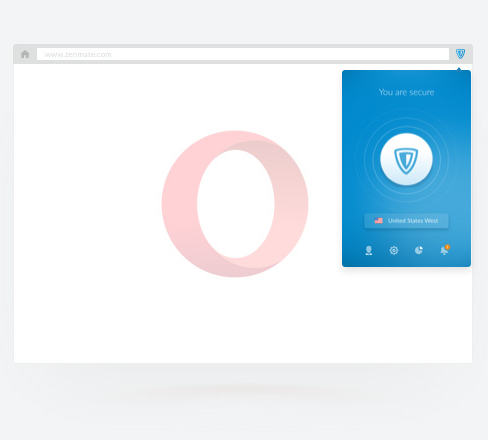 ZenMate VPN for Opera activated in the Opera browser